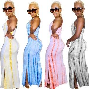 Dress Designer Split Summer Sexy Slim Fit Casual Dresses Ladies Nightclub Clothes Women Spaghetti Strap