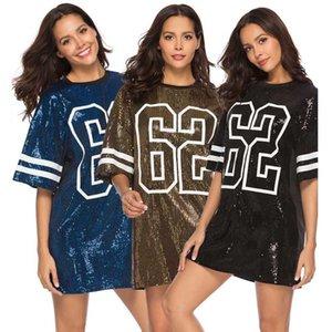 Dasswei Fashion Sequined Straight Dress Women Summer Loose Short Sleeve O-Neck Female Number Printed Dress T Shirt Streetwear