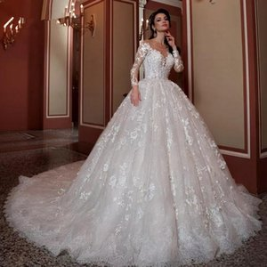 2020 Beading Sequins Appliques Flowers Lace Princess Ball Gown Wedding Dress Luxury Bridal Gowns Robe De Mariee