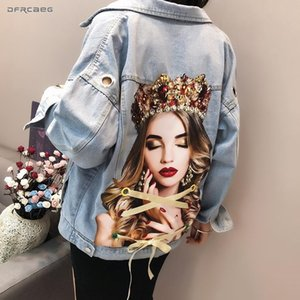 Portrait Print Women Jeans Jacket With Eyelet 2019 Fashion Summer Streetwear Denim Beading Coat Loose Vintage Outwear