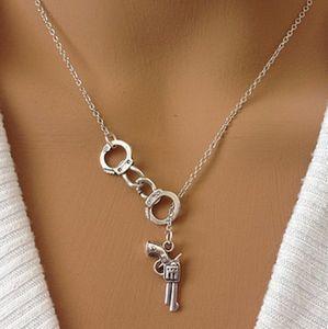 Women pistol Handcuffs Pendant Couple necklace