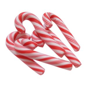 50Pcs rosso e bianco Natale Handmade Candy Cane Kawaii miniatura alimentari Dollhouse Home Decor