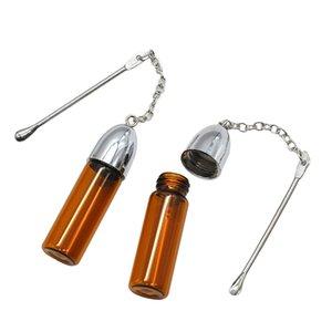 Copo vazio garrafa de rapé com metal Colher Snorting Snorter Bala recipiente de armazenamento Dispenser Pill Case (36MM / 57MM / 72MM)