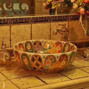 Китай ручной работа Ceramic Art бассейновой Раковина Счетчик Top Умывальник сосуд ванной комната Раковина сует мытье искусства таза