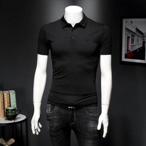 2020 produits européens coton mercerisé polo à manches courtes chemise à manches demi-mince ajustement des hommes d'affaires casual 6PN7