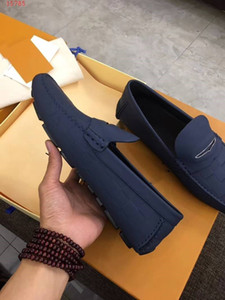 Moda Erkek Süet Deri Düz Desen Ayakkabı Wedding On Casual Parti Loafers Tek Ayakkabı Slipini Elbise Gri Mavi Siyah pompaları