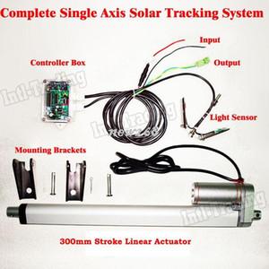 Freeshipping 1kw كاملة واحدة محور نظام تتبع الشمسية كيت -300 ملليمتر الخطي المحرك تحكم كهربائي ل الكهروضوئية ضوء الشمس الشمسية المقتفي