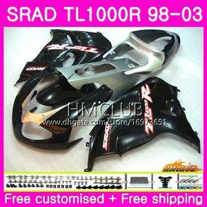Inyección Para SUZUKI SRAD TL 1000 R TL1000R 98 99 00 01 02 03 16HM.0 TL1000 R TL 1000R 1998 1999 2000 2001 2002 2003 Carenado Brillante negro
