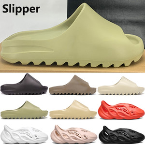 New foam runner platform slipper sandal shoes resin triple black white bone Earth Brown mens women stylist slides sandals US 5-11