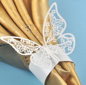 레이저 커팅 중공업 나비 종이 냅킨 링 결혼식 냅킨 홀더 호텔 결혼식 연회 테이블 장식 액세서리