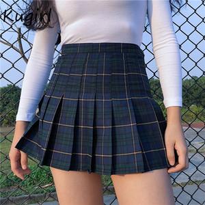 Harajuku Tartan Pembe Kadınlar Etek Seksi Pileli Etekler Moda Mini Etek Yan Düğme Yüksek Bel etek ekose Casual MX200327 womens