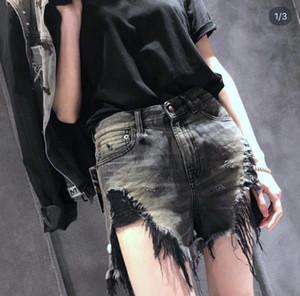 Verão Mulheres RI3 calções de moda menina fresca do estilo furo furos Tassel lavado desgastado calções rebarbas jean menina tamanho asiático 25-30 sxff3246648 #