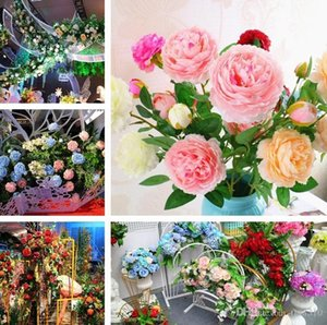 Fashion 3 Heads 65*8cm Artificial Flowers Peony Bouquet 13Colors Silk Bridal Bouquet Vivid Fake Rose for Wedding I261