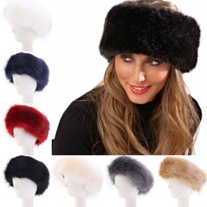 Livre DHL Faux Fur Headband com elástico para Quente de Mulheres Winter Earmuff Senhora cor sólida exterior Esquiar Hairband O48FZ