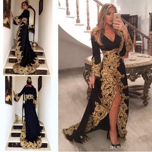 Siyah Dantel Aplikler Müslüman Uzun Kollu Abiye Artı Boyutu 2019 Altın Embrodiery Örgün Abiye giyim Bölünmüş Suudi Arapça Balo Elbise