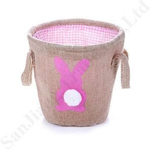 La cesta de Pascua Conejo mullido de la cola de arpillera de yute Cubo conejito Patrón de Pascua Cestas de huevo Conejo bolsos caramelo regalos de los bolsos de totalizadores A122107
