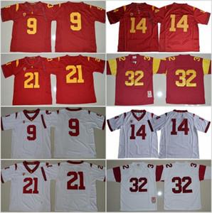 USC Trojans 9 Juju Smith-Schuster Jersey Erkek Koleji Futbol 14 Sam Darnold 21 Adoree Jackson 32 OJ Simpson Dikişli Kırmızı Beyaz Boyutu S-XXXL
