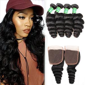 Lâche vague brésilienne de cheveux humains 4 Bundles avec fermeture à bas prix Virgin Brésil Hair Extensions en vrac vague Bundles avec dentelle 4x4 Fermeture Weave