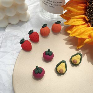 아보카도 한국어 다채로운 캔디, 과일, 야채, 귀걸이, 슈퍼 소녀, 아름다운 마음, 파인애플 보석.