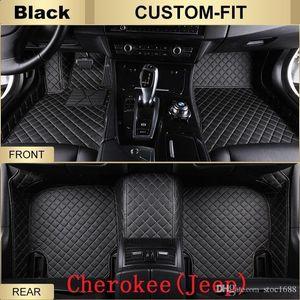 SCAT Custom Fit Car Foot Pads All Weather Leather Car Floor Mats para Jeep Cherokee impermeável anti-derrapante em 3D da frente tapetes traseiros