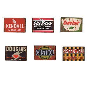BBQ Motor Oil Gasoline Vintage Metal Signs Home Decor Cafe Bar Decoration Pub Decorative Metal Wall Art Plates Tin Sign Retro 20x30cm