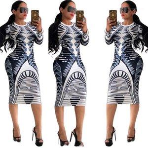 Robe Femmes Flora Printed Club Robes Vêtements Femme Designer Femmes Robes d'été O-cou décharné manches longues