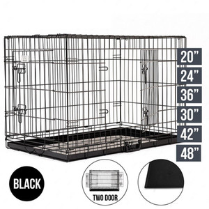 "33"" Dog Cage avec 2 portes Fil pliant Pet Crate Dog Cat Cage 85 * 60 * 70cm Valise Kennel Playpen avec plateau Pet Crate Dog Cat Cage DHL gratuit"