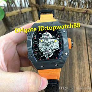 Top RM27-02 tourbillon scheletro Automatic Swiss quadrante in fibra di carbonio di caso Sapphire Crystal Antimagnetico antiurto Men Watch