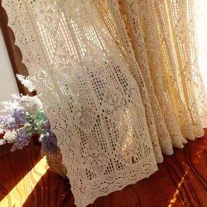 American Country Estilo Handmade Cotton Tópico Crochet Francês janela cortina oco Terminado decorativa Cortina Personalizar