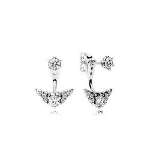 Luxury designer CZ diamond Wedding earrings Original Box for Pandora 925 Sterling Silver Princess Crown Stud Earring for Women