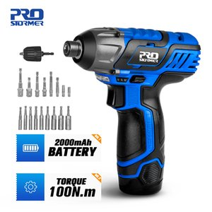 100NM Electric Screwdriver 12V Cordless Drill Driver Screw Lithium Battery Rechargeable Hexagon Power Tools by PROSTORMER T200602