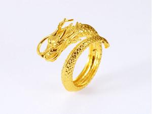 Bague d'ouverture du Vietnam Shajin robinet en relief dominateur hommes en laiton Placage en or 24k bijoux euro pièce bijoux