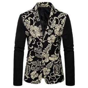 2020 otoño nuevo Mens fino juego de la chaqueta de la personalidad de la vendimia étnico Impreso capa del juego ocasional adelgaza la chaqueta encima de la chaqueta masculina