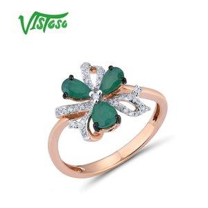 VISTOSO 14 K 585 розовое золото кольцо для женщин магия Изумруд сверкающий бриллиант обручальное юбилей элегантный сияющий изысканные ювелирные изделия CJ191203