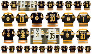 Bruins de Boston do vintage Jersey 8 PETER McNAB 22 PARQUE DE BRAD 19 NORMAND DE LEVEILLE 6 KLUZAK 23 CRAIG JANNEY 26 MIKE MILBURY 11 STEVE KASPER Hockey