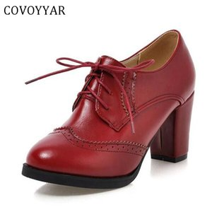 COVOYYAR 2019 Vintage Lace Up Women Pumps Cut Out Oxford Shoes Chunky Heel Patent Leather High Heels Lady Ankle Boots WHH132 Y200702