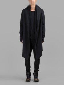 Personalized fashionable men dark Coat middle and long cardigan sweater coat cloak cloak gloves