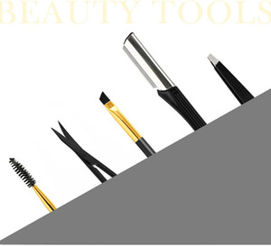 Stainless steel eyebrow shaping tools 5pcs set eyebrow trimmer makeup tools eyebrow brushes knife free shipping