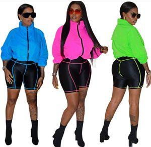 Mulheres cor contraste designer de treino de manga longa jaqueta sunproof casaco e motociclista calções 2 roupas pedaço roupa BODYCON esportes adequar WF704