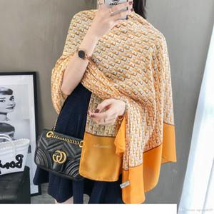 French luxury fashion silk scarf Designer popular design top quality soft silk scarf for women ladies beautiful beach shawl scarf headban