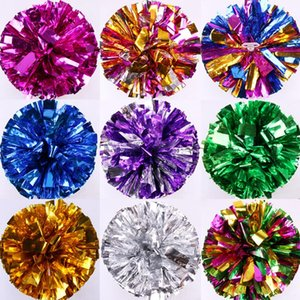 Wettbewerb Cheerleading Pom Poms Blumenball Metallic-Folie und Plastikring-Hand Cheer Dance Sport Supplies Party Decor 20 Farben