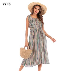 2020 large size dress v chiffon striped skirt summer sexy long European and American skirts