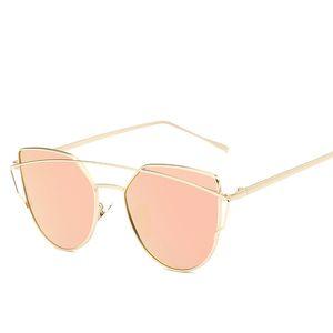 Cat Eye vintage Brand designer rose gold mirror Sunglasses For Women Metal Reflective flat lens Sun Glasses Female