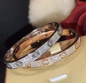 Wedding Engagement Women Bracelet Size 17 Wide Edition Diamond Bangle Bracelet luxe for Banquet Jewelry 3 Colors