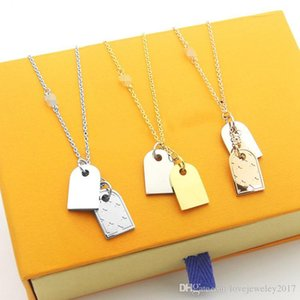 hip hop men necklace gold double tags Pendant necklace stainless steel silver thin chain with metal plate designer necklace for women