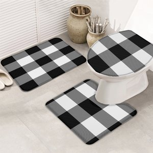 3 Pieces Bathroom Set Black And White Mosaic Grid Bath Set Toilet Cover Mat Pedestal Rug Non-Slip Bathroom Rug Set