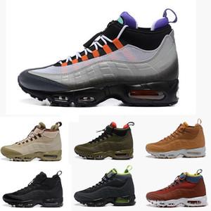Novas Botas Moda Almofada 95s Preto Verde Brown Ankle Boots Top Waterproof Trabalho Botas Homens Sapatilhas exterior Correndo Sneakers