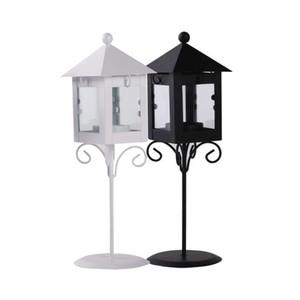 Old European Iron Glass Art Street light Lantern Black White London Quiosk Shape Hurricane lamp Romantic Valentine Candle Holder