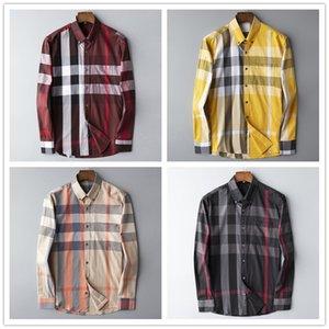 2020 luxury autumn and winter men's long-sleeved cotton shirt pure men's casual POLOshirt fashion Oxford shirt social brand clothing M-3XL