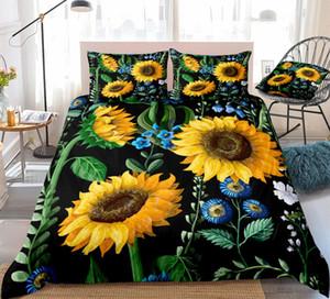 3D الفراش الأزهار وضع لحاف أسود غطاء غطاء عباد الشمس حاف وضع الملك دروبشيب الصفراء الزهور الزرقاء المنسوجات المنزلية النباتية